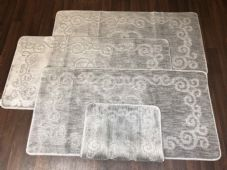 ROMANY WASHABLES NEW DESIGN FULL SET OF 4PC SILVER/GREY MATS NON SLIP TOURER